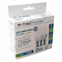 LED égő E14, 5,5W, 470 lm, természetes fehér, 2 év garancia, 3db/csomag
