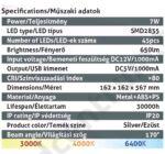 LED asztali lámpa, állítható színhőmérséklet, 7W, ezüst