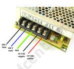 LED tápegység, 3A, 36W, DC 12V, fém házas