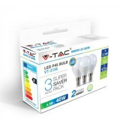 LED gömb égő E14, 5,5W 470lm, meleg fehér, 3db/csomag