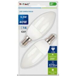 LED égő E14, 5,5W 470 lm, meleg fehér, 2db/csomag