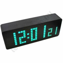 LED asztali óra fa hatású burkolattal, antracit szürke