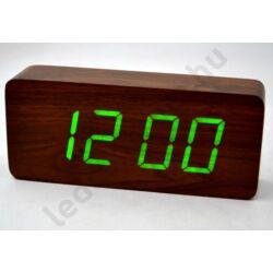 LED asztali óra fa hatású burkolattal, barna