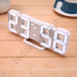 LED digitális asztali ébresztőóra óra, fehér-fehér