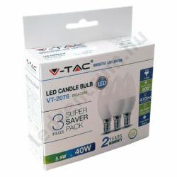 LED égő E14, 5,5W, 470 lm, hideg fehér, 2 év garancia, 3db/csomag