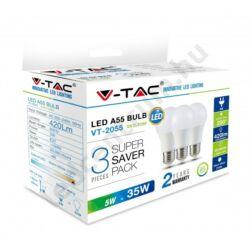 LED égő E27 , 5W, 420lm meleg fehér, 3 db/csomag, 2 év garancia