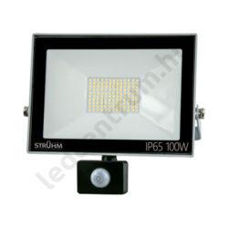 LED reflektor 100W, kültéri, szenzorral, szürke ház, hideg fehér