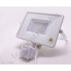LED reflektor 30W, kültéri, szenzorral, fehér ház, természetes fehér