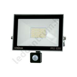 LED reflektor 50W, kültéri, szenzorral, szürke ház, természetes fehér