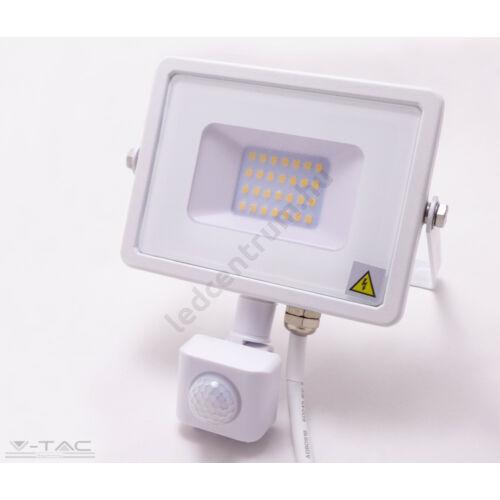 LED reflektor 20W, kültéri, szenzorral, fehér ház, természetes fehér