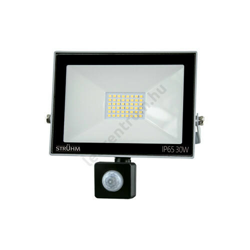 LED reflektor 30W, kültéri, szenzorral, szürke ház, természetes fehér
