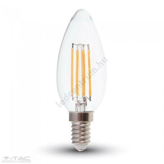 LED égő E14, Retro, Filament, Gyertya, 6W, 600 lm, meleg fehér, 2 év garancia